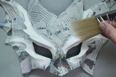 Easy Paper Mache Mask: 9 Steps (with Pictures) - Paper Mache Crafts Paper Mache Crafts For Kids, Paper Mache Diy, Paper Mache Mask, Paper Mache Projects, Paper Mask, Paper Clay, Paper Crafts, Art Projects, Cardboard Mask