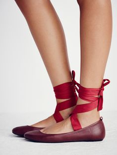 Degas Ballet Flat   Ballet-inspired leather flats featuring a soft rounded toe and statement wrap tie with an adjustable fit, tie anyway you want! Padded footbed for a comfortable fit.