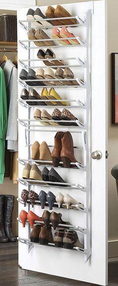 Shoe storage ideas for small closets over the door shoe rack diy shoe storage ideas easy Shoe Storage Uk, Shoe Storage Solutions, Diy Shoe Rack, Storage Hacks, Diy Storage, Shoe Racks, Storage Design, Shoe Rack Door, Shoe Hanger