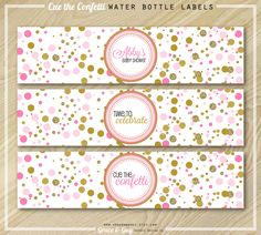 Pink and Gold Water Bottle Labels by GraceandGuy on Etsy https://www.etsy.com/listing/176953741/pink-and-gold-water-bottle-labels