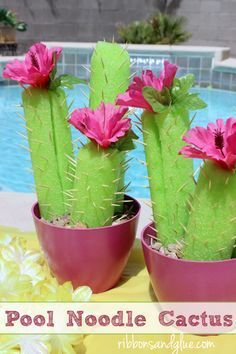 Pool noodle cactus perfect for Summer party tables. #summerdiy #poolnoodlecrafts