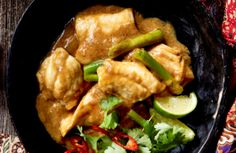 1. Place oil into a heated frypan and add onions, garlic, ginger and cumin. Cook for 2 minutes, then add Yeo's Malaysia Curry Sauce. 2. Add stock, sesame oil, soy, salt and lime juice. Add fish and simmer for 5 minutes or until just cooked. 3. Garnish with the spring onion, coriander, sliced chillies and …