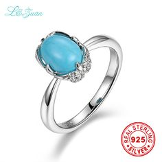 I&zuan 925 sterling silver Natural 1.54ct Turquoise Blue stone Prong Setting Classic Ring Jewelry gift