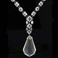 """Late Art Deco Sterling Silver Faceted Crystal Necklace 32"""" – A. Brandt   Son #SterlingSilverFindings"""