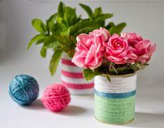 Paseando hilos: Regalos hechos a mano para el Día de la Madre. Jarrones con lana y latas recicladas.