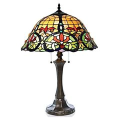 "River of Goods 23"" H Tiffany Style Stained Glass Edwardian Hearts Table Lamp #RiverofGoods #StainedGlass"