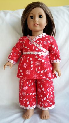 fc7d31d539 Holiday Pajamas for your 18 doll ready to by PattyAllenDesigns Holiday  Pajamas