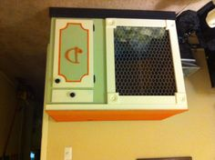 Repurposed low kitchen cabinet for our big dog's crate!