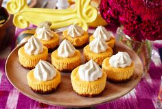 Mini Pumpkin-Ginger Cheesecakes with PSL Whipped Cream | 43 Thanksgiving Desserts That Will Steal The Show