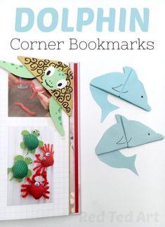 Dolphin Corner Bookmark. How to make a corner bookmark. Easy Origami Bookmark for Summer. Summer reading program - make these lovely Dolphin Bookmark Corners #bookmarks #cornerbookmarks #dolphin #oceans #summer