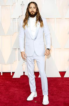 The 2014 Best Supporting Actor winner donned a powered blue suit with satin lapels, teamed with white lace-up shoes.
