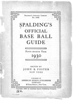 Spalding's Official Baseball Guide, 1930