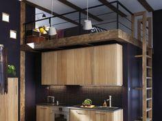 Lit mezzanine au dessus de cuisine | Idee amenagement | Pinterest ...