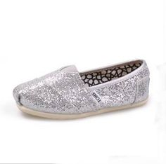 $16.79 Toms Kids Shoes Silver Youth Glitters
