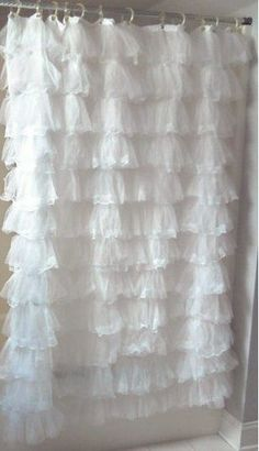 Shabby Cottage Chic Tulle & Lace Ruffled White Ruffles Bath Shower Curtain New