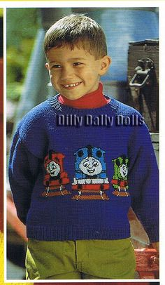 Thomas Tank Engine Intarsia Sweater PDF by DillyDallyDolls on Etsy