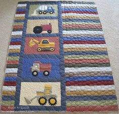 Piece N Quilt: Randomness @ Piece N Quilt------- use printed machinery blocks for a baby boy quilt