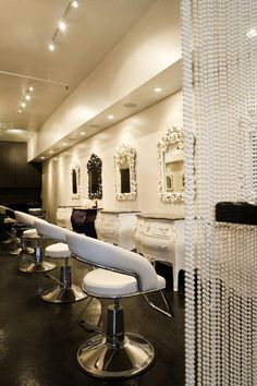 Vintage looking salon vanity and mirrors. Love it.