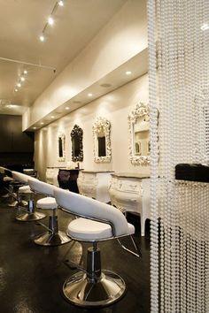 Vintage looking salon vanity and mirrors. Love it.