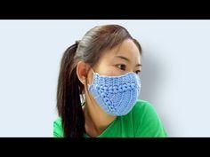 Crochet Face Mask with Wool # 2 Crochet Mask, Crochet Faces, Knit Crochet, Knitting Patterns, Sewing Patterns, Crochet Patterns, Blue Face Mask, Face Masks, Crochet Videos