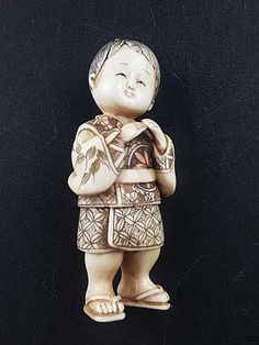 Buy online, view images and see past prices for Okimono/netsuke - katabori-netsuke: Child figure-depiction of a boy wearing a short kimonoand zori sandals, full ivory carving, polished, finely engraved and dyed, himotoshi to the back, h. c. 7,5cm, Japan, possibly early Showa time, signed , slight. Invaluable is the world's largest marketplace for art, antiques, and collectibles.