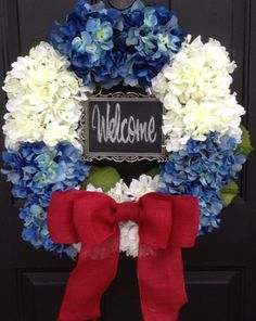 Americana Door Wreath Patriotic Hydrangea Red White Blue Burlap 4th of July Spring Summer Front Door Decoration CHALKBOARD sign Memorial Day