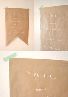 kraft paper party menus and signs Wedding Menu, Wedding Ideas, Wedding Decor, Wedding Stuff, Wedding Inspiration, Design Inspiration, Paper Banners, Party Buffet, Paper Packaging