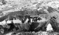 The living quarters on Elephant Island, by Frank Hurley and George Marston. Sir Ernest Shackleton led a rescue attempt for his men stranded on Elephant Island in the Antarctic.