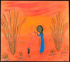 Mexican Folk Art Paintings-Original Artwork Direct From The Artist-RoMy-Terlingua Art Studio: NR! Bubble Pipe Cat Fun MeXiCaN FoLk ArT RoMy Painting