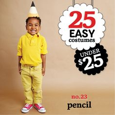 25 easy costumes under $25 - Pencil - Today's Parent. http://www.todaysparent.com/family/activities/halloween-costumes-paper-cones/ #halloween #costumes