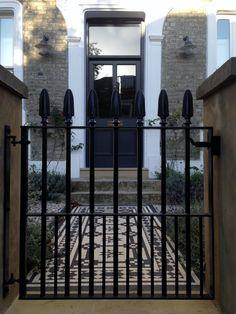 Islington Victorian mosaic tile path York stone sandstone paving wrought iron rails and gate London (11)