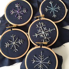 Gorgeous snowflake decs - don't they look super in these mini hoops, all simply embroidered and with beads?