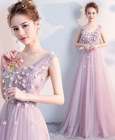 2018 cute pink tulle V neck prom dress, sweet 16 dresses #prom #dress #dresses #promdress #promdresses