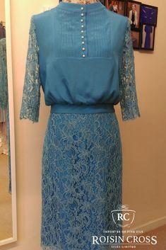 Blue Silk Crepe Dress Overlaid with Blue Solstiss Lace made at Roisin Cross Silks Dublin Crepe Dress, Silk Crepe, Day Dresses, Summer Dresses, Dress Making Patterns, Lace Making, Ladies Day, Dressmaking, Dublin