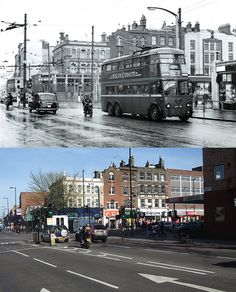 Nag's Head junction and Parkhurst Road looking east & 2014 London History, Local History, Vintage London, Old London, London Transport, Public Transport, Archway London, Reading Berkshire, London Bus