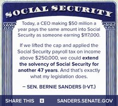 "Its not rocket science and the fckg government needs to pay back what ""they borrowed"" and keep their greedy hands off of the funds! A cap on SS payroll tax to embrace upper income levels to make SS solvent. Bernie Sanders For President, Look Man, 50 Million, We Are The World, Social Issues, Food For Thought, How To Apply, Feelings, Social Security"