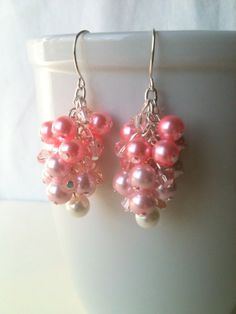 Pink Ombre Glass Pearl Bead and Crystal Bead Cluster Earrings on Silver Plated Ear Wire