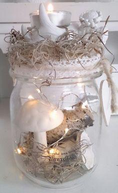 Herbstdeko Teelicht , Pilze, Deko Vintage, neu Herbst Tischdeko Weckglas weiss