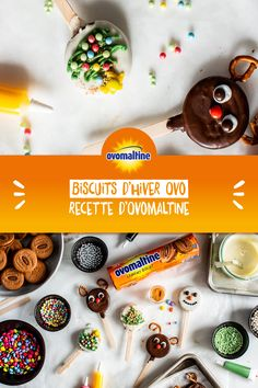 Notre recette phare pour l'hiver 2019: les biscuits d'hiver Ovo! Ces biscuits délicieusement Ovomaltine Crunchy sont non seulement incroyablement drôles, ils croustillent siiiii agréablement aussi! #Souvenirdenfance Miam Miam Snack Recipes, Snacks, Biscuits, Pudding, Cookies, Baking, Juice, Diy, Drinks