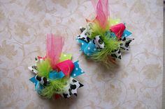 Mini Funky Fun Over the Top Bows---Funky Cowgirl--Cow Print, Pink, Turquoise and Lime