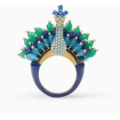 Kate Spade Full Plume Peacock Ring ($108) ❤ liked on Polyvore featuring jewelry, rings, kate spade, peacock ring, peacock jewelry, kate spade rings and peacock jewellery