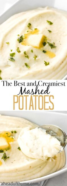 No holiday table is complete without a serving of the best and creamiest mashed potatoes. These potatoes are so velvety and so smooth! | aheadofthyme.com via @aheadofthyme