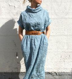 Linen dress / Купить Льняное платье - бирюзовый, небо, прохлада, натуральный лен, 100% лен, натуральные ткани