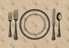 Vintage image Service plate fork knife spoon Instant Download Digital printable…