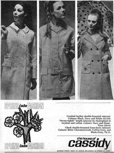 The Stillorgan Shopping Centre was opened in late 1966 by Dickie Rock. This feature is scanned from Woman's Way, March See also previous post - Golden Discs Advert 1967 Navy And White, Black And Grey, Dublin Ireland, Shopping Center, Old Photos, Double Breasted, Raincoat, T Shirts For Women, Cotton