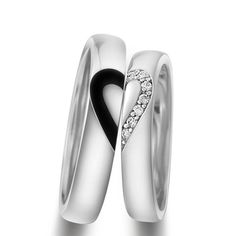 【Creative Matching Heart Sterling Silver Promise Rings for Him and Her】