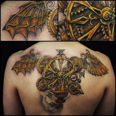 The detail on this steampunk clock is spot on. #InkedMagazine #steampunk #tattoo #back #tattoos #Inked #ink