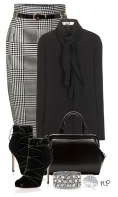 Houndstooth by nuria-pellisa-salvado on Polyvore featuring moda, Valentino, Izabel London, Gianvito Rossi, Lulu Guinness, Mark Broumand and Kobelli