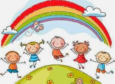 Illustration of Happy kids jumping with joy on a hill underneath a rainbow vector art, clipart and stock vectors. Cartoon Kids, Cute Cartoon, Art Hipster, Grace Ciao, Illustration Art Nouveau, Art Simple, Kids Church, Kids Corner, Cover Pages