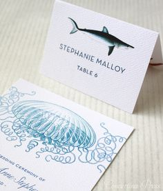 Blue Shark place card and Floating Jellyfish Wedding Invitations.